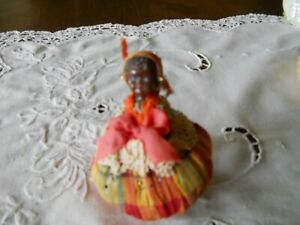 Antique Black American Girl Or Lady Pin Cushion Excellent Condition
