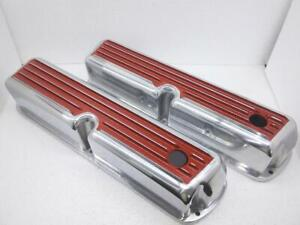 62 85 Sbf Ford 302 Red Finned Polished Aluminum Tall Valve Covers 289 351w 5 0