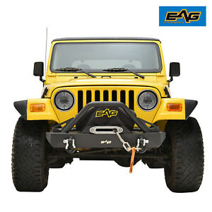 Eag Front Bumper W d rings Textured Rock Crawler Fit 87 06 Jeep Wrangler Tj Yj
