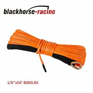 1 6 X50 Synthetic Winch Rope Line Recovery Cable 8000lbs 4wd Atv Utv Orange