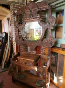 Antique Oak 1800 S Hall Tree Carved Details Large And Beautiful