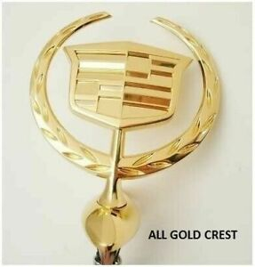 Cadillac Dts Hood Ornament W retainer 24k Gold 2006 2011
