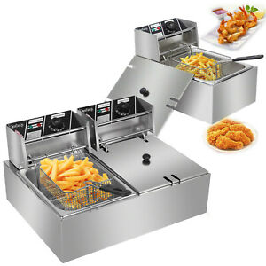 5000w Electric Countertop Deep Fryer Dual Tank Commercial Restaurant 6 12 Liter