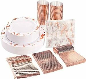 Nervure 175pcs Rose Gold Marbling Disposable Plastic Plates And Silverware Se
