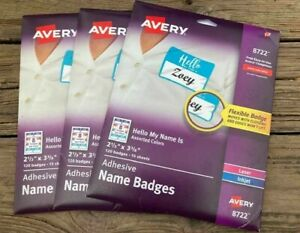 Avery Adhesive Name Badge Labels 2 1 3 Width X 3 3 8 160 pack Rect R 40 95