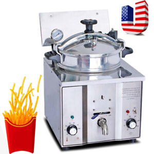 Ce Commercial Electric Countertop Pressure Fryer 16l Stainless Chicken Fish 110v