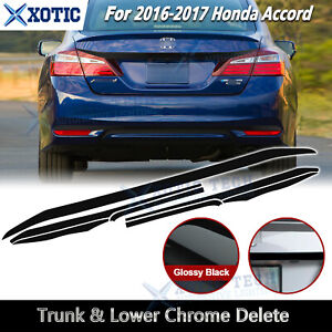 Chrome Delete Blackout Overlay For 2016 17 Honda Accord 4dr Rear Trunk Low Trim