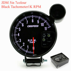 5 120mm Jdm Sport Black 11k Prm Tachometer 7 Colour Gauge shift Led Light