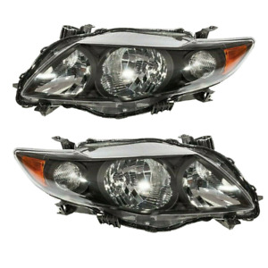 Headlights Fit For 2009 2010 Toyota Corolla Black Housing Head Lamps L r