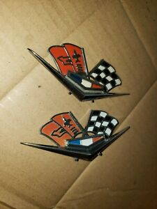 Vintage Early 60s Chevy Impala Corvette Flag Emblems