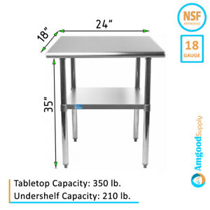 18 X 24 Stainless Steel Table Nsf Metal Work Table For Kitchen Prep Utility