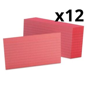 Ruled Index Cards 3 X 5 Cherry 100 pack Pack Of 12