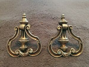 Antique Pair Of Ornate Brass Drawer Cabinet Furniture Back Plates Pulls