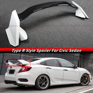 For 16 2021 Honda Civic 4 Door Sedan 2 Tone White Blk Type R Style Spoiler Wing
