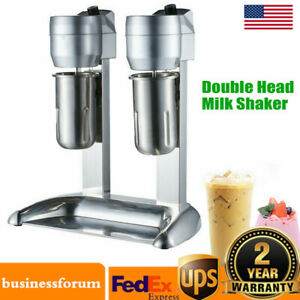 300w Commercial Milk Shake Machine Double Head Drink Mixer Stainless Steel Usa