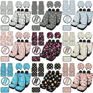 Cartoon Animals Car Floor Mats With Seat Covers armrest wheel Covers 14 16pc Set