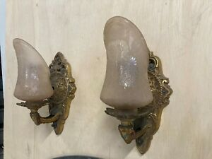 Cast Brass Gothic Wall Sconce 1930 S