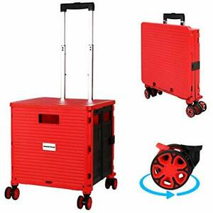 Rolling Cart With Wheels Folding Portable Plastic Crate Foldable Utility Hand
