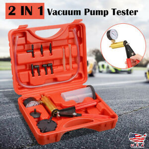Hand held Vacuum Pump Brake Fluid Bleeder Tester Bleeding Kit Adapters For Autos
