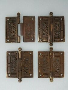 Antique Vintage Door Hinge Set Of 4 Reclaimed Salvage Door Hardware nice
