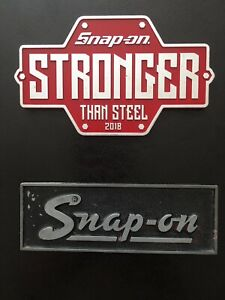 Vintage Snap On Tool Box Emblem Toolbox Badge Name Plate 1 Rare Red One