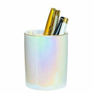 Cute Ceramic Round Cool Pen Holder Stand For Desk Colorful Pencil Cup Pearl