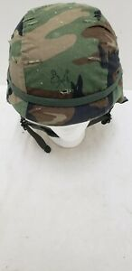 Military Issued Woodland Made with Kevlar Helmet Complete Medium $71.95
