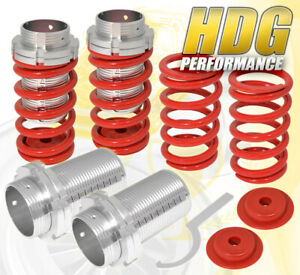 For 89 99 Eclipse Adjustable Lowering Spring Coilover Sleeves Aluminum Scale Red