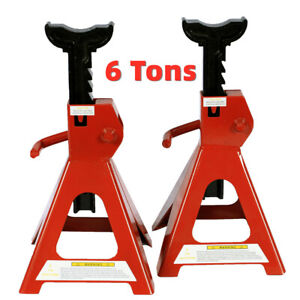1pair Of 6 Tons Jack Stands Red Powder Coating Ratcheting Locking Adjustable Us