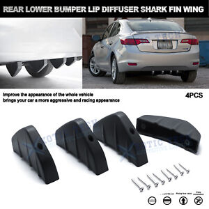 For Chevy Camaro 4pcs Matte Black Rear Lower Bumper Lip Diffuser Shark Fin Wing