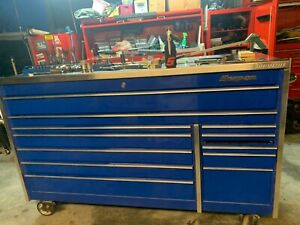 Snap On Snapon Snap On Tool Box Cabinet And Stainless Steel Top Royal Blue