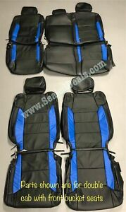 2014 2021 Toyota Tundra Double Cab Black Blue Leather Seat Covers For Buckets