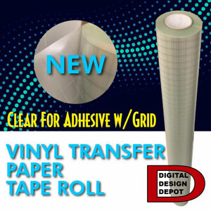 Transfer Tape For Adhesive Vinyl Sticky Grid lined Clear