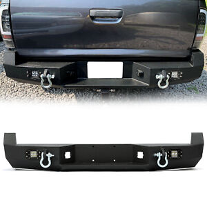 For 2005 2015 Toyota Tacoma Rear Bumper W License Plate Led Lights Steel