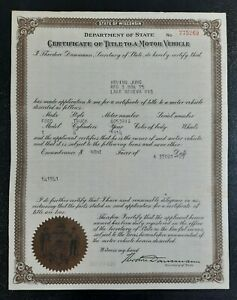 Ford Model T Truck 1914 Title Certificate