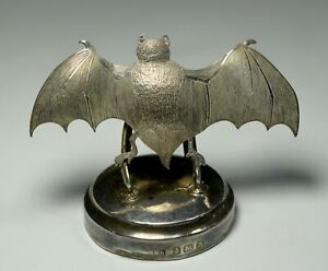 Vintage Flying Bat Sterling Silver Place Card Holders Art Deco England Box 1926