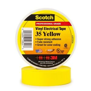 3m Scotch 35 Yellow Electrical Tape 5 Pack 3 4 In X 66 Ft