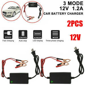 2 Pack 12v Auto Car Battery Charger Tender Trickle Maintainer Boat Motorcycle