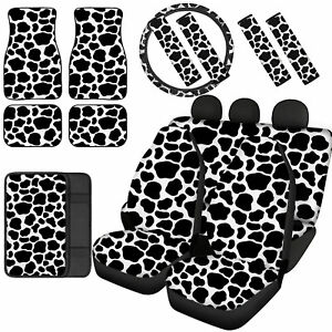 Animals Grain Print Car Seat Covers Combo With Floor Mats Seat Belt Pads 12 14pc