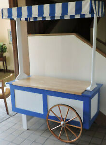 One Of A Kind Vendor Cart New Festive Unit Made Of Wood With Amish Wagon Wheels