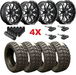 20 Black Fuel Wheels Rims Tires 33 12 50 20 Wrangler Gladiator Mud M T