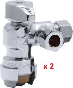 Lot Of 2 X Sharkbite 25558lf 1 2 To 3 8 Dual Compression Outlet Stop Valve