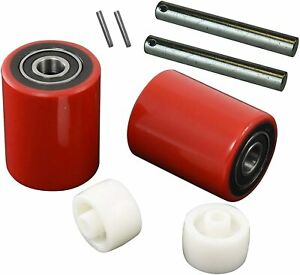 Pallet Jack truck Load Wheels Full Set With Axles And Rollers 3 X 3 75 Red