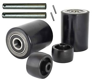 Pallet Jack truck Load Wheels Full Set With Axles Rollers 3 X 3 75 Black