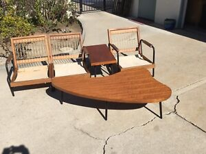 1950s Mid Century Modern Furniture Set Sectional Sofa Coffee Table Kidney Shaped