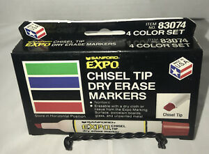 Brand New Vintage Sandford Expo Dry Erase Markers Set Of 4 In Box