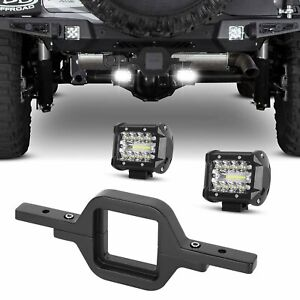 Tow Hitch Mounting Backup Fit Truck Suv 2 Led Work Light Bar Pods Reverse Light