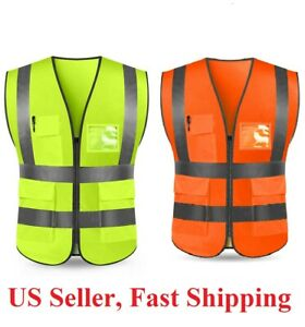 Neon Security Safety Vest High Visibility Reflective Stripes Orange Yellow Ngl