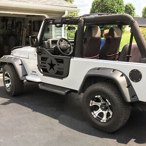 Military Tubular Door With Side Mirror Pair Fit For 1997 2006 Jeep Tj Wrangler