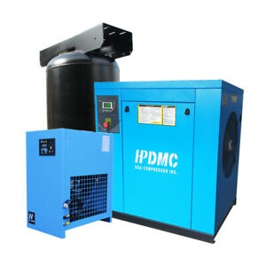 230v 15hp 57cfm Rotary Screw Air Compressor With 80 Gallon Air Tank And Dryer